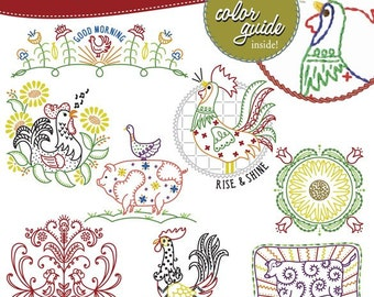Days of the week embroidery patterns, Shaggy Maggie, Roosters, butterflies, rabbits, etc.