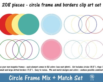 208 Circle Frames / Labels Clipart - 52 colors - choice of borders for use individually or layering - Commercial Use - Instant Download