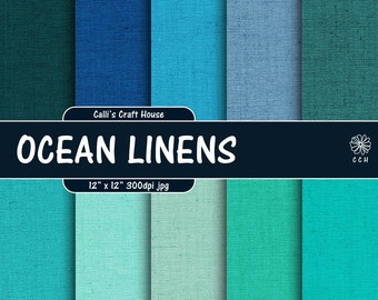 Ocean Linen Texture Digital Paper - blue / aqua / green linen - linen fabric - linen textile background - Commercial Use - Instant Download