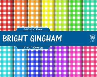 Bright Gingham Digital Papers - gingham backgrounds - Rainbow colors - 12x12 inches - Commercial Use - Instant Download