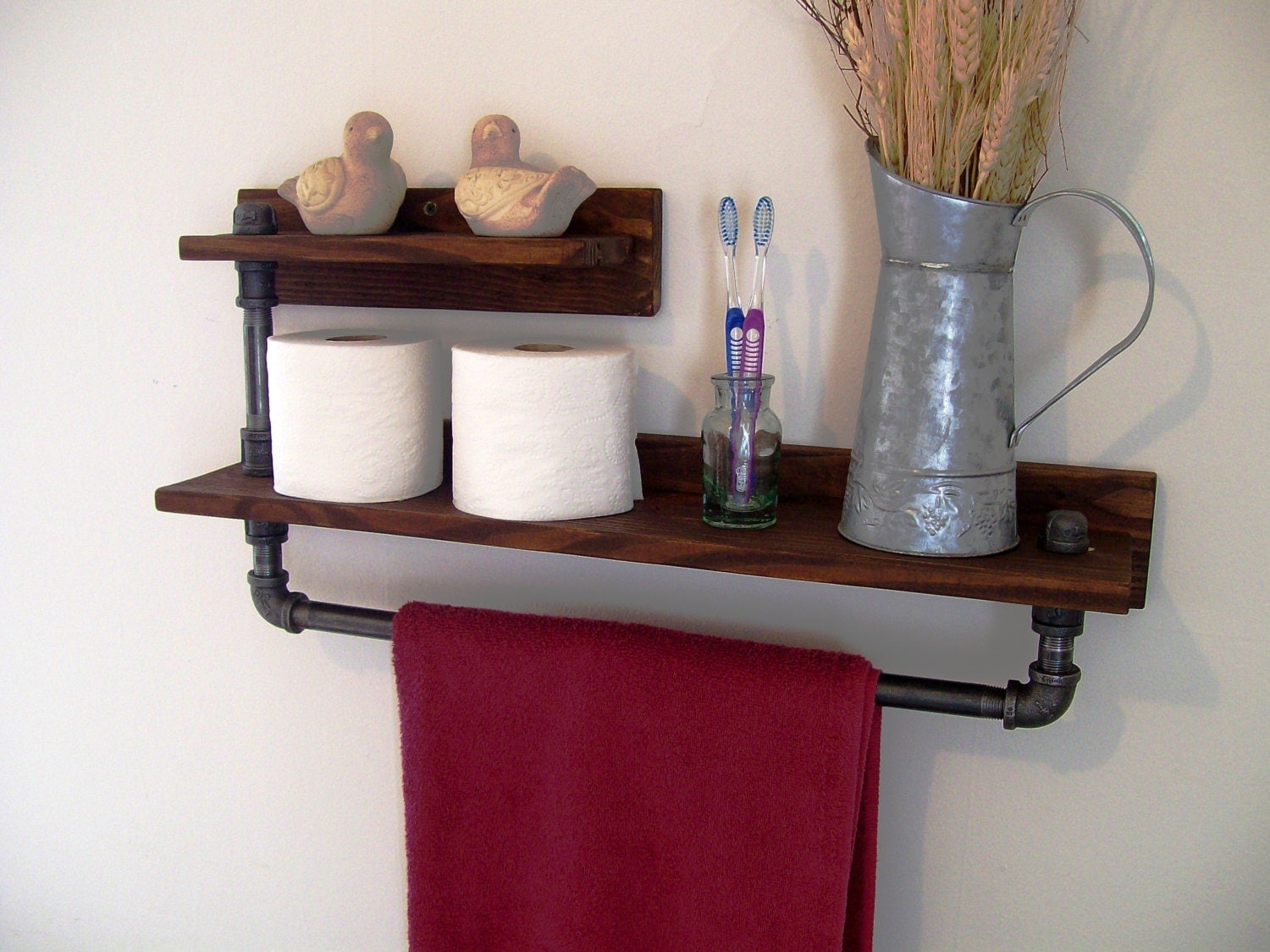 rustic industrial 2 tier towel rack towel bar bathroom shelf. Black Bedroom Furniture Sets. Home Design Ideas