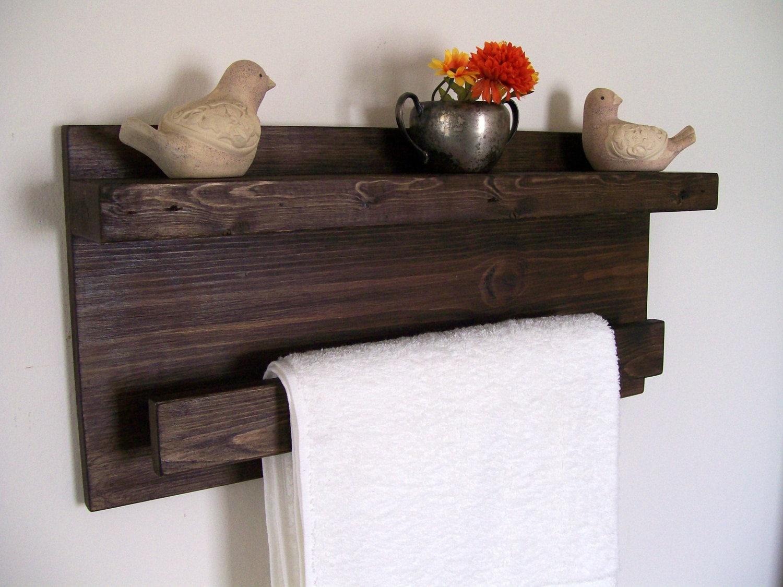 Bathroom shelves wood shelf towel rack towel bar floating - Bathroom wall cabinet with towel rack ...