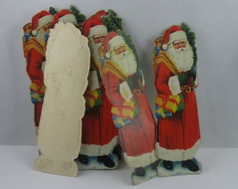 1 piece (!!!) wonderful, old, embossed glossy picture / scrap / wafer / oblate: Santa Claus. Probably around 1960. VINTAGE
