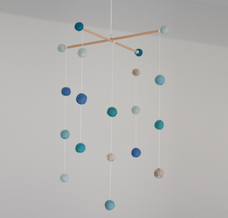 felt ball mobile blue. Black Bedroom Furniture Sets. Home Design Ideas