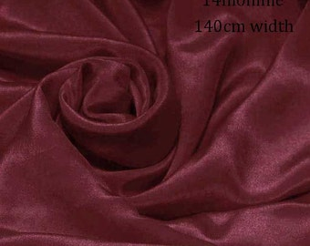 "Sample/ Yards/Meters 100% Pure Silk Fabric Crepe De Chine 55"" /140cm wide 14momme for Dress Material Persian red Color crepe 10W-14mmW"