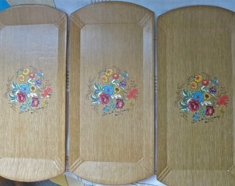 60s Lithograph Haskelite Floral Serving Trays, Mid Century Serving Trays, TV Trays, Flower Trays,Art Trays, 6 Set, FREE SHIPPING U.S.A. Only
