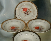 4 Vintage Triumph American Limoges Vermillion Rose Berry Bowls 22K Gold Trim
