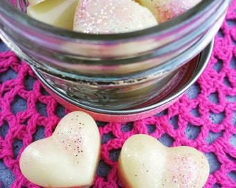 Small Lotion Bars - Heart Shaped Lotion Bars - Pink Sugar - Lotion Bars - Moisturizer - Glitter Bars - Lotion Bars - Gift for her