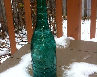 Green Glass Bottle.Collectible Green  Glass Wine Bottle.Made in Canada.