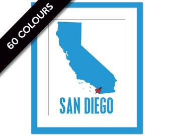 San Diego Art Print - California Art Print - Travel Poster - San Diego Poster - San Diego Wall Art - California Wall Art - San Diego Decor
