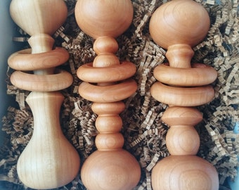 Wood Turned Heirloom Baby Rattle - Custom Made at Order