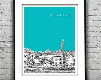 Muscat Oman Skyline Sultan Poster Art Print Version 2