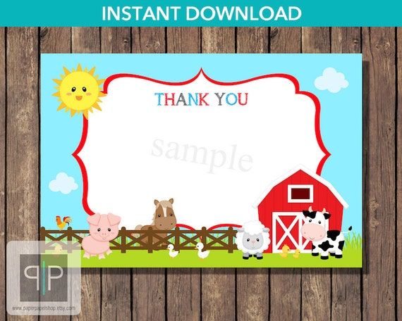 Items similar to INSTANT DOWNLOAD Farm Thank You Card