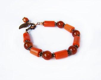 Beauty gift Corals carnelian bracelet Orange red bracelet Magic bracelet Natural Stones bracelet Gemstone Boho chic bracelet Women gift