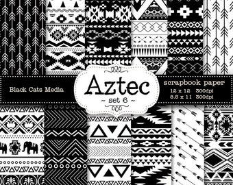 Aztec tribal ethnic digital Printable Papers 12 x 12 in AND 8.5x11 in  - black and white - invitations, scrapbooking, instant download