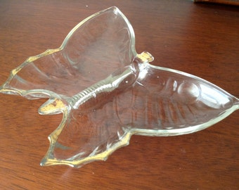 Vintage Glass Butterfly-shaped Candy Dish With Gold Trim