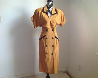 Yellow and Black Tailored Button Down 70's Secretary's Dress  - Small