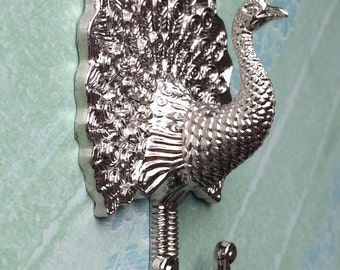 Silver White Peacock Decorative Wall Hook Metal Wall Hooks / Curtain Tie  Backs Hardware Hanger Coat