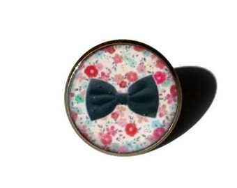 BOW JEWELRY - BOW ring - tiny bow - black bow - black bow ring - pink flower ring - flower jewelry - pink - black - adjustable ring