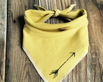 Limited edition Mustard Hand stamped Arrow Bandana Bib, Scarf Bib for Baby and Toddler