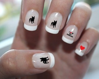 French Bulldog Love Nail Art