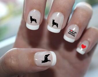 German Shepherd Love Nail Art
