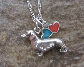Dachshund Necklace- Large Double Heart Sterling Silver Necklace