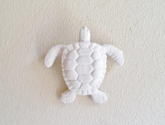 Sea Turtle wall hanging sculpture, turtle ring holder, nautical decor, Honu