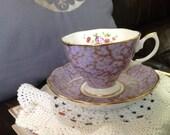 Vintage lavender teacup and saucer set