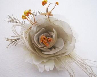 Handmade Wedding Cream  Flower Brooch /Hair Clip/Bag Clip