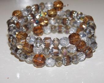 Amber Brown Silver Wrap Bracelet