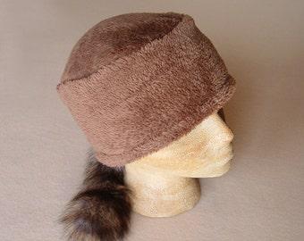 "Handmade Davy Crockett or Annie Oakley ""Coon Skin Style"" Cap with Genuine Raccoon Tail"