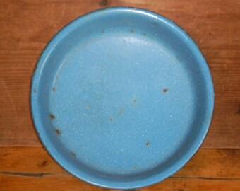 Blue Enamelware Dish, Enamelware Plate, Antique Enamelware, Primitive Enamelware, Blue Graniteware, Rustic Enamelware, 1920's Kitchenware
