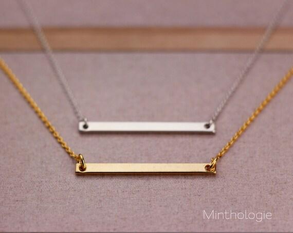 horizontal bar necklace n043a gold fill by minthologiestudio. Black Bedroom Furniture Sets. Home Design Ideas
