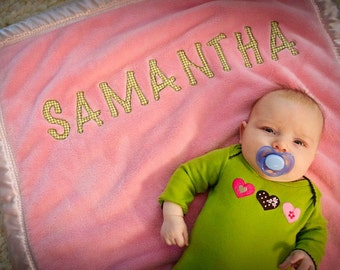 """Pink fleece blanket,  Personalized options,  Boutique gift for baby or toddler blanket, 40""""x30"""", Choose your satin color"""