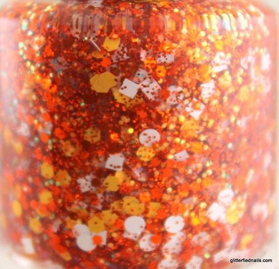 Coin Toss Orange and White Glitter Nail Polish Team Spirit 5 free nail polish handmade nail polish indie nail polish vegan cruelty free nail