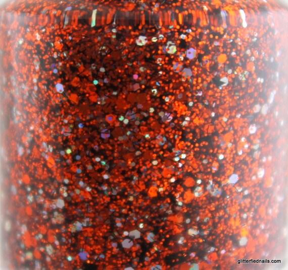 Tiger Night Lights - Orange Black Silver Glitter Nail Polish Team Spirit 5 free nail polish handmade indie nail polish vegan cruelty free
