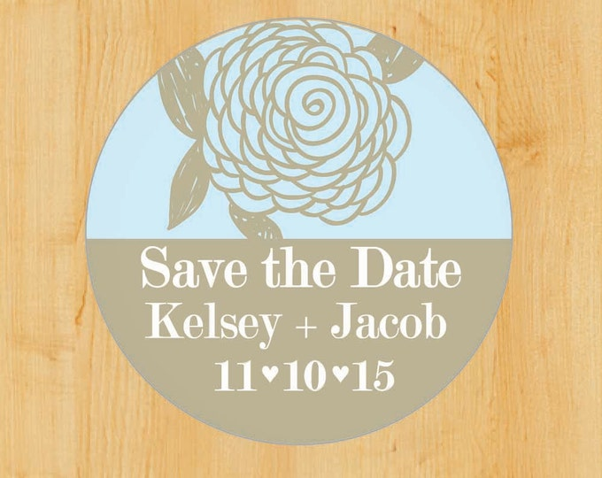 Save the Date Stickers | Thank You Stickers | Return Address Label | Personalized Sticker | Round Address Label |  Doodle Flower
