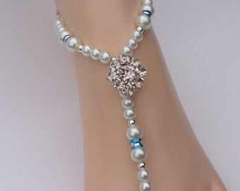 Something Blue Crystal and Pearls Barefoot Sandals, Foot Jewelry, Beach Wedding Sandals