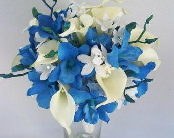 Gina's  Bridal Bouquet Royal Blue Dendrobium Orchids,White Calla Lilies,Stephanotis,Rhinestones