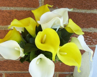 Dawn's Bridal Bouquet White and Yellow Calla Lilies