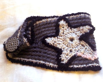 Greyscale crochet headband ear warmer with star