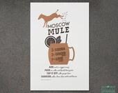 Bar Cart Art, Wall Art, Wall Decor, Man Cave Art, Moscow Mule Letterpress Art Print, Best Seller, JJD_LP_MMP