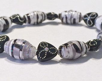 Black and White Paper Bead Bracelet  Beads 1st Paper Anniversary For Her Mom Sister Boho Chic Stack Wife Unique Dainty Repurposed Recycled