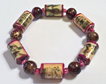 Paper Bead Bracelet With Birds Birdcages In a Deep Burgandy Wine Color OOAK Lightweight First Anniversary Gift for Her Mother's Day Unique