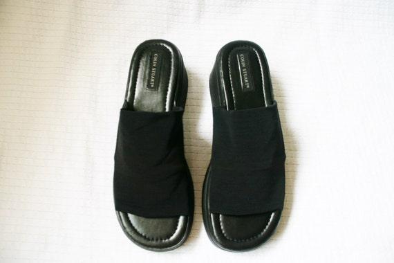 90s Black Platform Slides / 10 Women's Shoes by ...