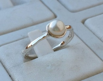 Pearl Silver Ring ,Sterling Silver Ring ,White Pearl Ring ,Promise Ring, Handmade Pearl Ring ,Bridal Ring ,Thin Pearl Ring ,Statement Ring
