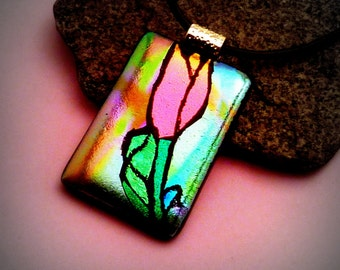 """Dichroic Glass Pendant Pink Engraved """"TULIP"""""""