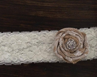 Burlap and Lace Headband and Garter