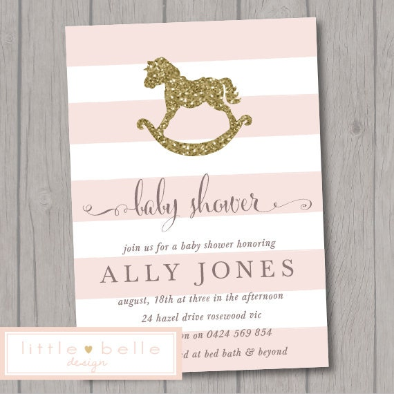 Rocking Horse Baby Shower Invitation Girl By Littlebelledesign